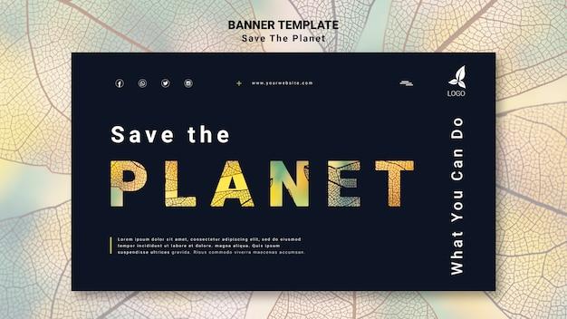 Speichern sie die planet-banner-vorlage