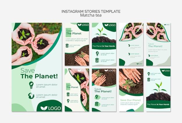 Speichern sie die planet instagram-storys-vorlage