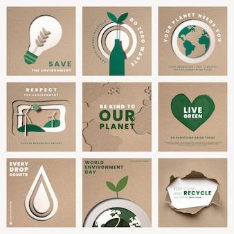 Speichern sie die planet-vorlagen-psd für das kampagnenset zum weltumwelttag