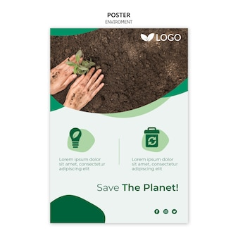 Speichern sie die planetenplakatschablone mit der hand, die im boden pflanzt