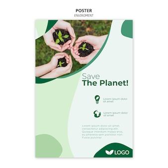 Speichern sie die planetenplakatvorlage mit pflanzen und händen