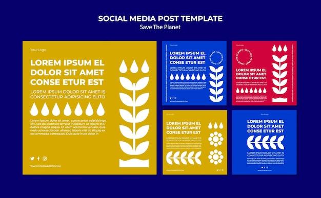 Speichern sie die post-vorlage für soziale medien auf dem planeten