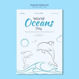 Speichern sie die postervorlage für die unterwasserwelt