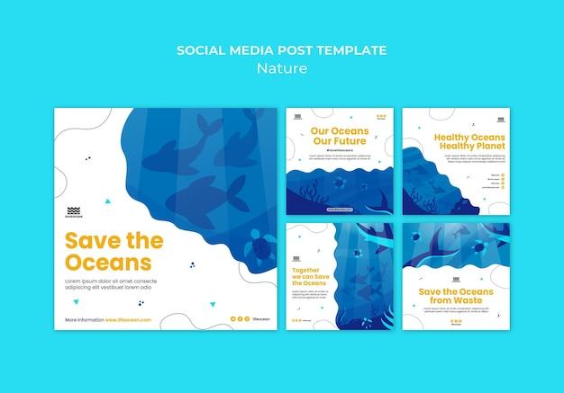 Speichern sie die social-media-beiträge der ozeane