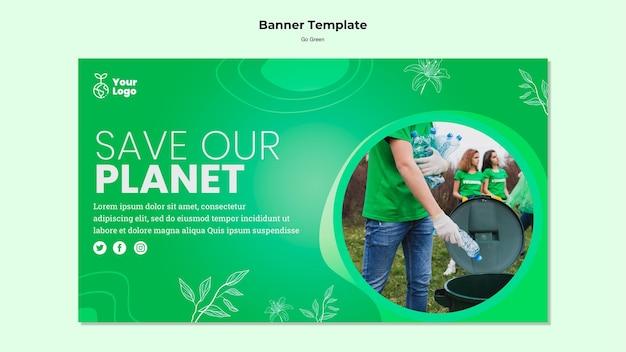 Speichern sie unsere planeten-banner-vorlage