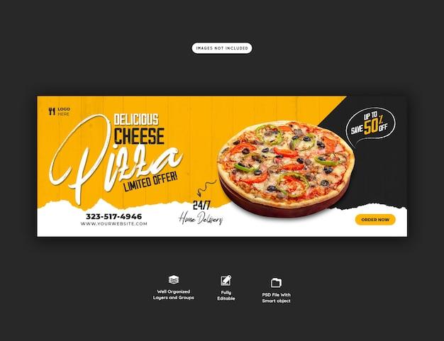 Speisekarte und leckere pizza facebook cover banner vorlage cover