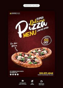 Speisekarte und leckere pizza flyer vorlage