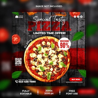 Speisekarte und leckere pizza instagram post vorlage