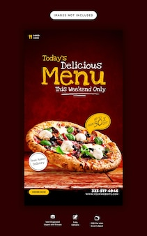 Speisekarte und leckere pizza-story-vorlage