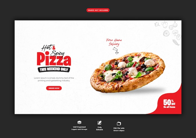 Speisekarte und leckere pizza web banner vorlage
