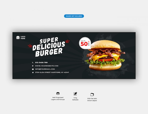 Speisekarte und restaurant facebook cover vorlage premium psd