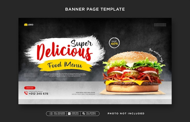 Speisenkarte und restaurant-social-media-post und web-banner-vorlage