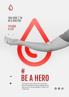 Spenden sie eine flyer-vorlage für eine blutkampagne