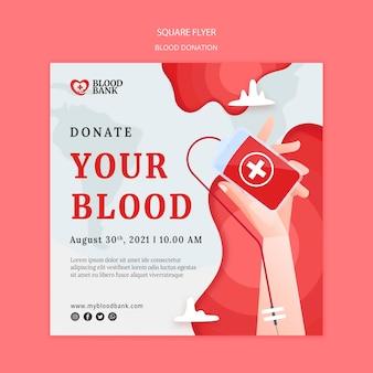 Spenden sie ihre blutquadrat-flyer-vorlage