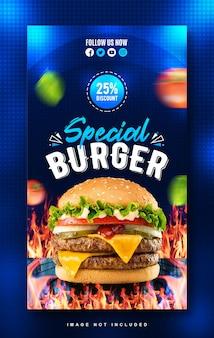 Spezielle burger-menü-design-vorlage für die instagram-geschichte