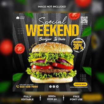 Spezielle burger-social-media-post-banner-vorlage