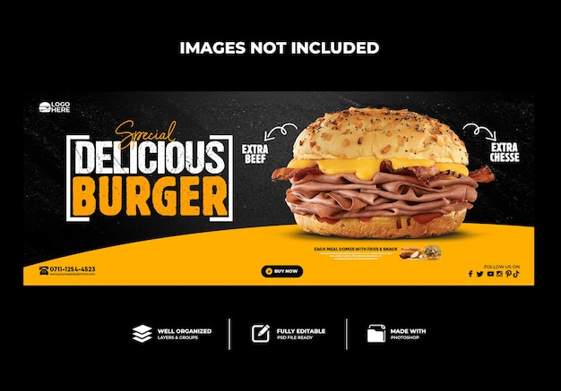 Spezielle delicious burger-facebook-cover-banner-vorlage