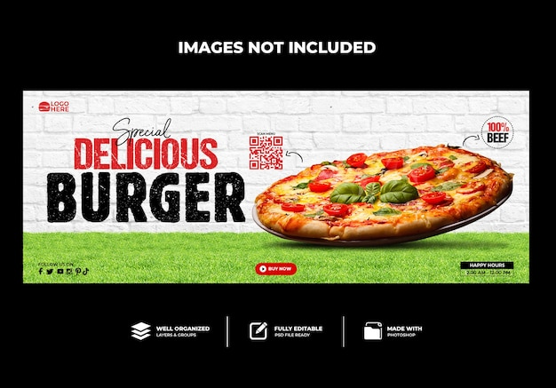 Spezielle delicious pizza facebook-cover-banner-vorlage