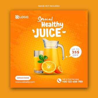 Spezielle juice social media post banner vorlage