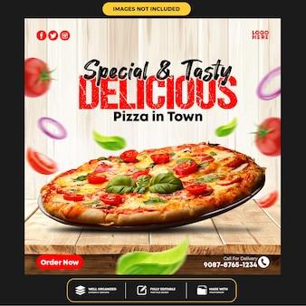 Spezielle köstliche pizza social media banner post vorlage