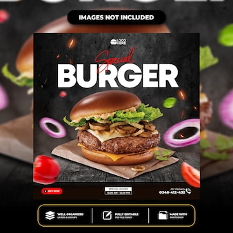 Spezielle leckere burger social-media-post-vorlage