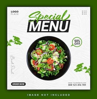 Spezielle menü-instagram-banner oder post-design-vorlage