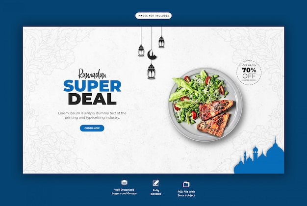 Spezielle ramadan food landing page vorlage Premium PSD
