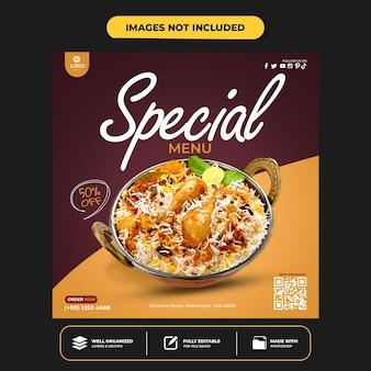 Spezielle social-media-banner-post-vorlage für leckeres essen