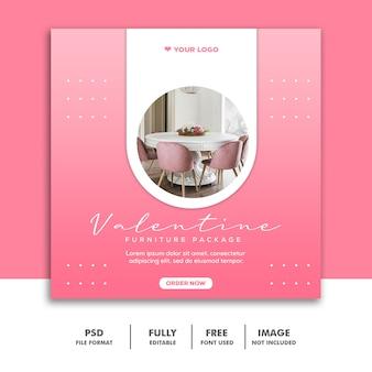 Spezieller valentine-möbelverkauf für social media-beitrag