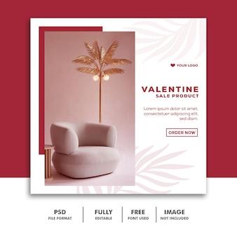 Spezieller valentinsverkauf für social media beitrag