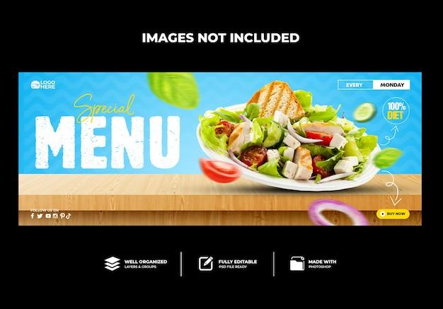 Spezielles menü leckeres essen facebook-cover-vorlage