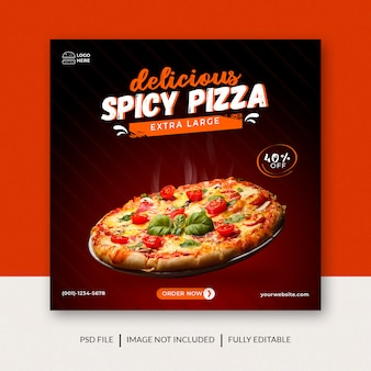 Spicy pizza promotion social media facebook instagram post banner vorlage premium psd