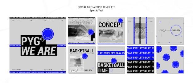 Spielen sie den social-media-beitrag zum basketball-konzept