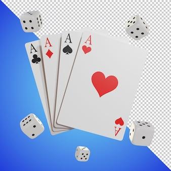 Spielkarte mit würfeln 3d-render isoliert