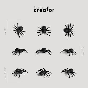 Spinnenvielfalt des winkelhalloween-szenenschöpfers