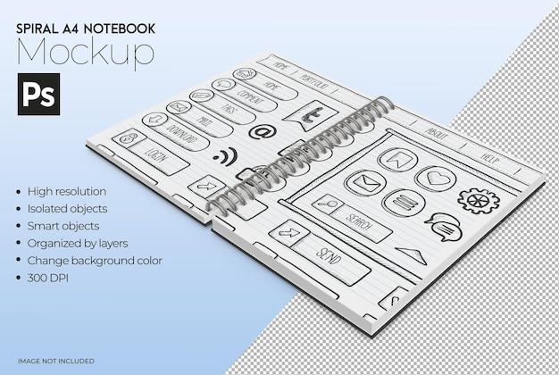 Spiral a4 notebook mockup