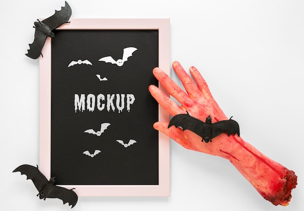 Spooky bloody hand mock-up-konzept