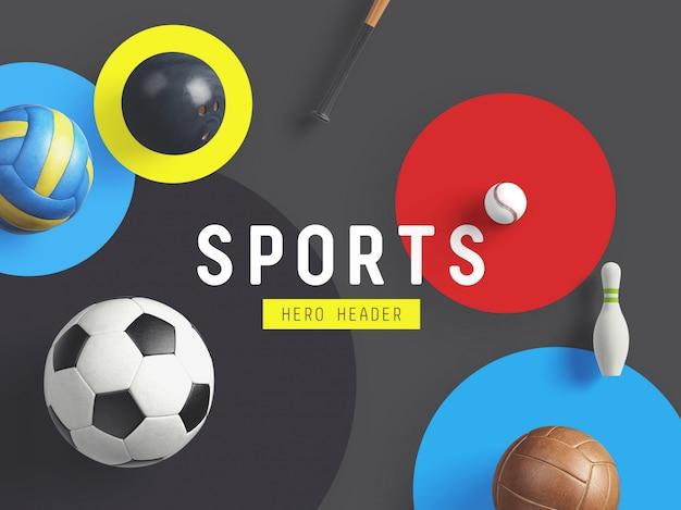 Sport held / header benutzerdefinierte szene