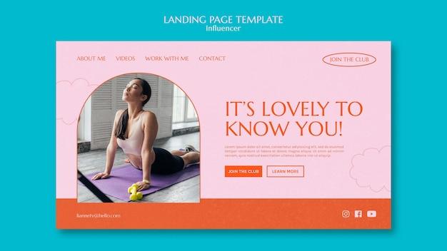 Sport influencer landing page