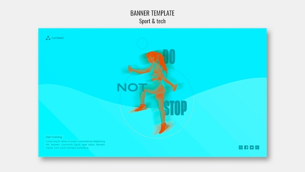 Sport & tech-konzept banner vorlage