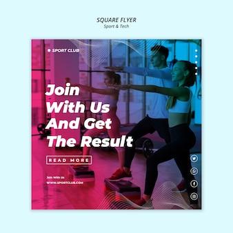 Sport & tech quadratische flyer vorlage
