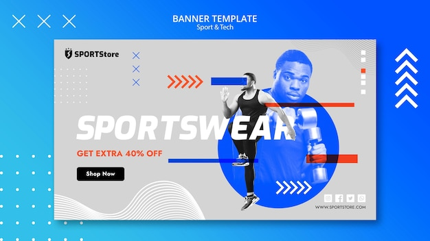 Sport & tech vorlage für banner-konzept