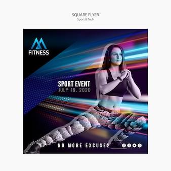 Sport und tech fitness square flyer