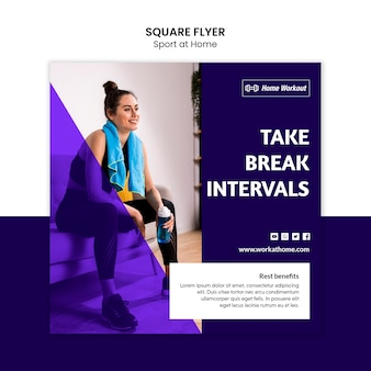 Sport zu hause quadratisches design