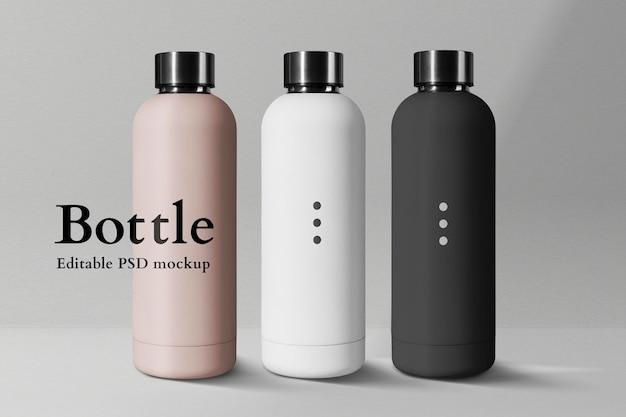Sportflasche mockup psd aus edelstahl in minimalistischem design