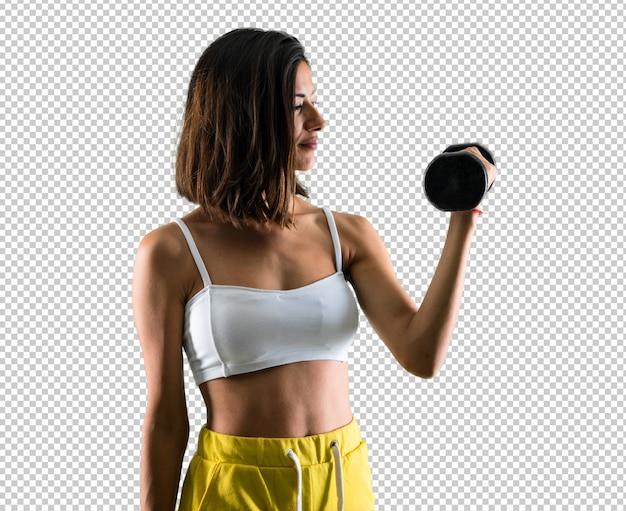 Sportfrau, die gewichtheben macht