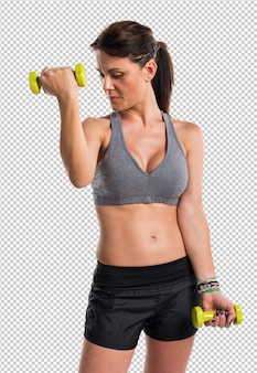 Sportfrau, die gewichtheben tut