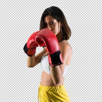 Sportfrau mit boxhandschuhen