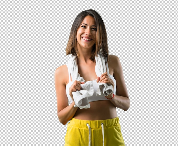 Sportfrau mit einem handtuch