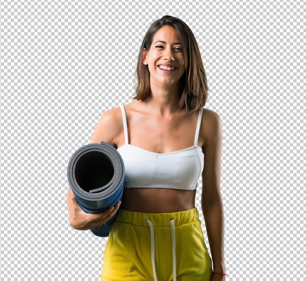 Sportfrau mit einer matte